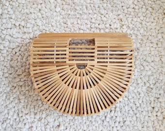 Medium Sized Bamboo Half Moon Ark Bag