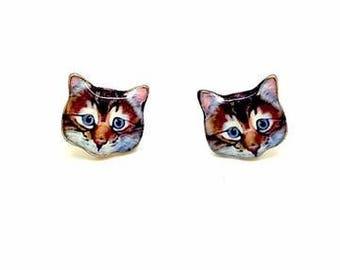 cat face stud earrings tigah