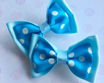 Blue Hair Bows Set of Two Hair Clips