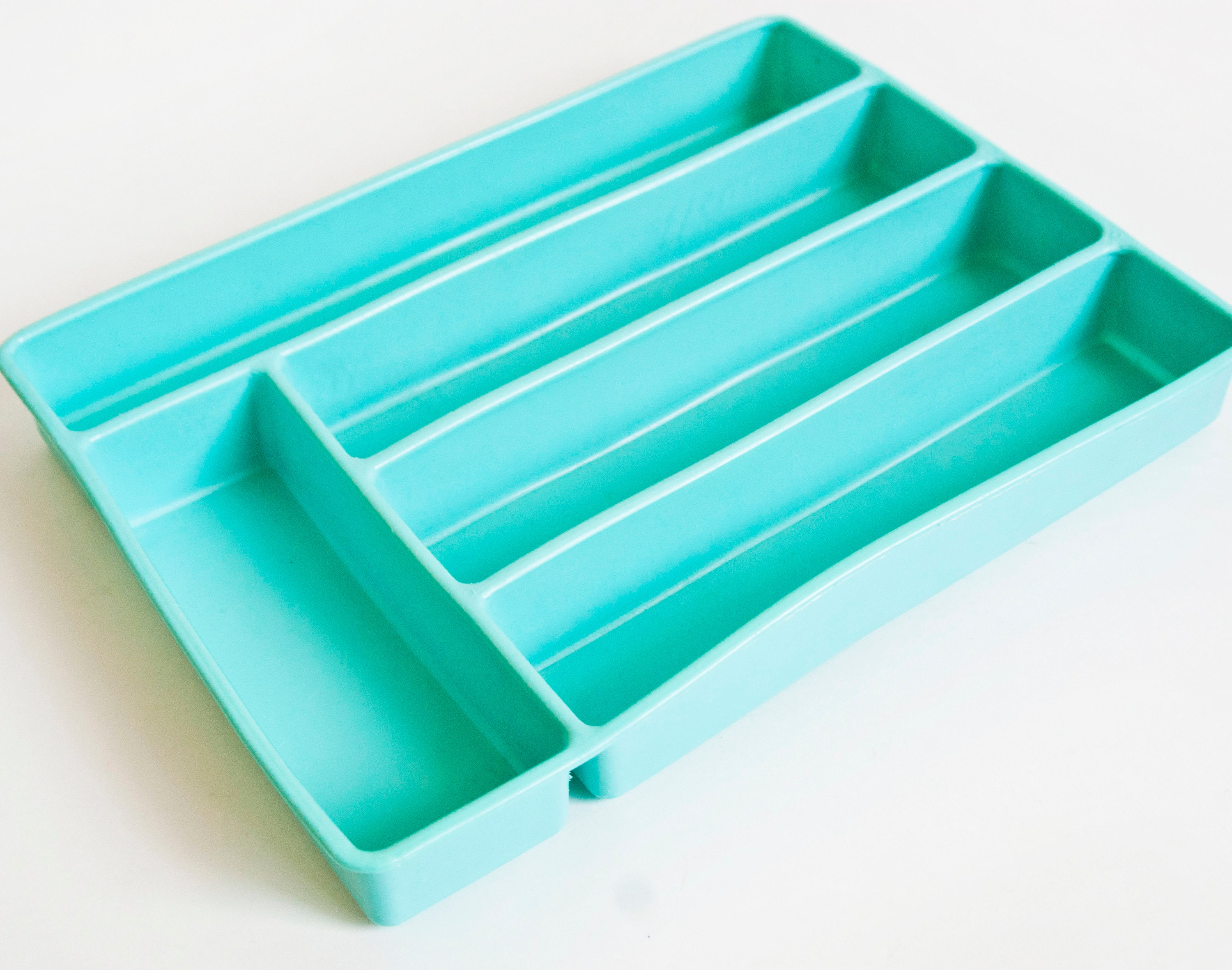 Vintage Turquoise Cutlery Tray 1950s 60s Silverware Organizer