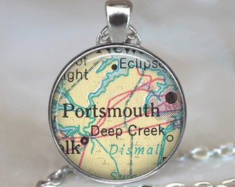 Portsmouth, Virginia map pendant, Portsmouth map necklace map jewelry travel memento key chain key ring key fob