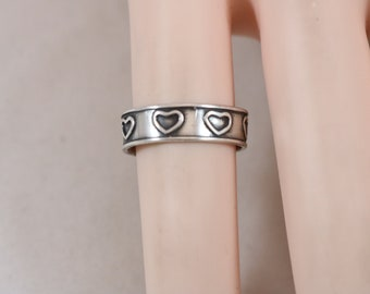 Sterling Silver Heart Open Band Ring Size 4 1.6g