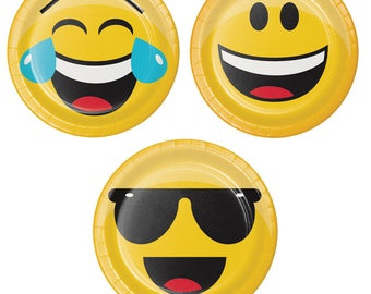 Emoji Dessert Plates [8ct] Smiley Face Emoiticon Birthday Party Tableware Cake Table Supplies