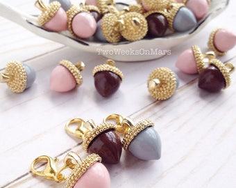 Acorn gold metal pastel pink/ gray/ brown TN Traveler's Notebook planner dangle charm clip