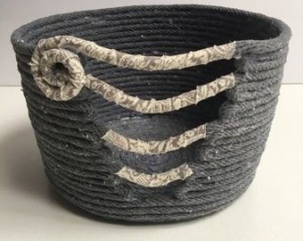 Gray Cotton and Fabric Wrapped Basket
