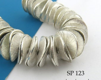 12mm Potato Chip Beads Brushed Silver Plated Large Wavy Disks (SP 123) 54 pcs Full Strand BlueEchoBeads