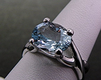 Natural untreated Aquamarine   10x8mm  2.05 Carats   in 14K white gold infinity style ring MMM