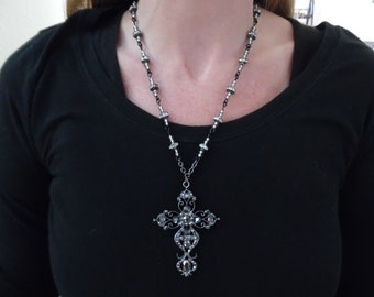 Jewelled Cross with Wire-Wrapped Swarovski Crystal Rondelle Chain