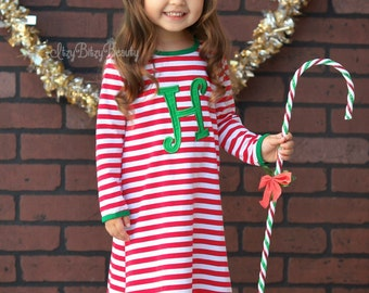 Girls Christmas Nightgown - Embroidered Christmas Dress -Night Gown Dress - Girls Christmas Pajamas - Girls Christmas Dress
