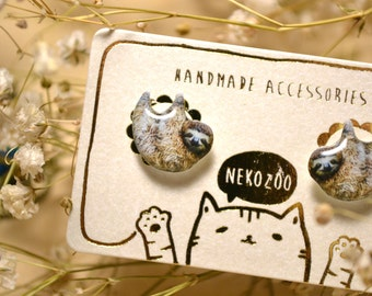 Sloth earrings handmade Tiny jewelry with linen cotton bag