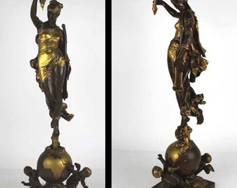 Augustin Jean Moreau Bauthier Fortuna 19th Century French Bronze Sculpture