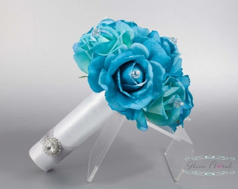 Turquoise Blue Rose Wedding Bridal Bouquet w Czech AB Crystals. Small Bouquet. Bride Bridesmaid Real Touch Flowers. Caroline Rose Collection