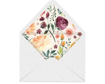 Printable Envelope Liner, Envelope Liner Template, Floral Envelope Liner, 8 sizes, You Print
