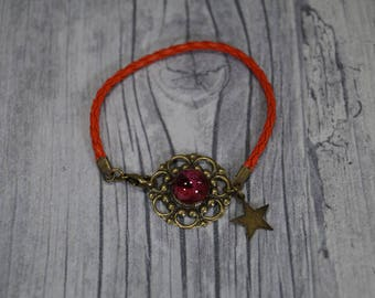 "Leather braided bracelet ""Asterisk"" Red"