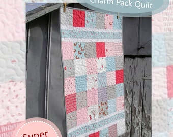 "Baby Quilt Pattern ""Beginner's Luck"" Easy Charm Pack Quilt PDF Download"