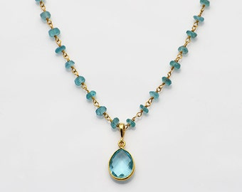 Blue Topaz necklace -  Apatite wire wrapped necklace - bridesmaid gift - December Birthstone necklace - rosary necklace - layered necklace