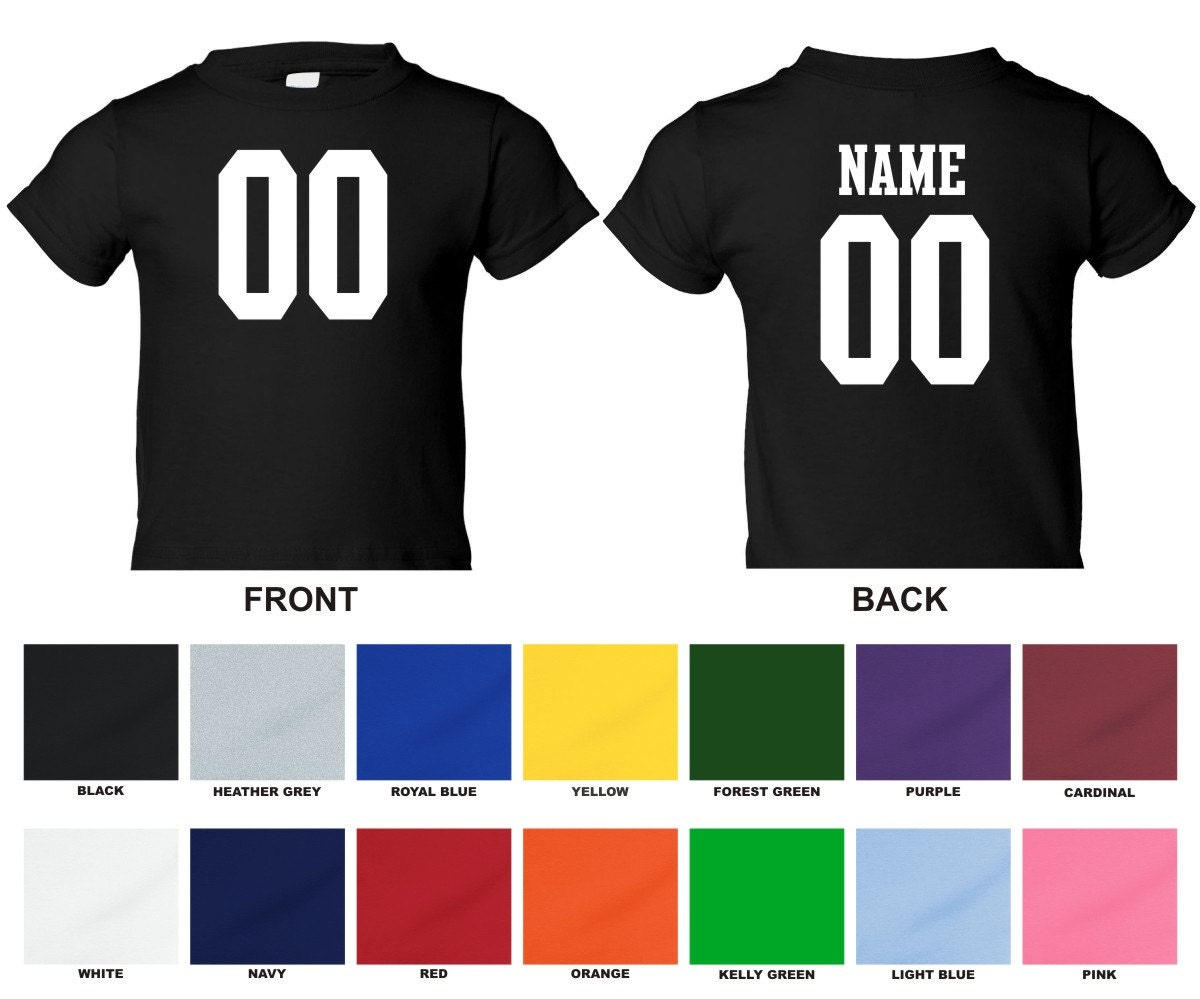 Personalized custom jersey style toddler t shirt choose the for Custom t shirts front and back
