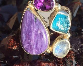 Charoite, Amethyst, Apatite, Moonstone Ring -size 7-