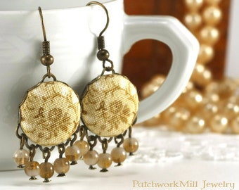 Dangle Earrings, Antique Tendrils, Beige Tan and Brown Flowers, Romantic Fabric Covered Buttons, Bohemian Jewelry, Czech Glass Beads