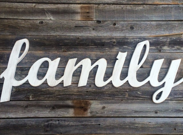 Finest Family Large Wooden Letters Script Word Wooden Wall Art WA75
