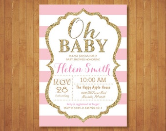 Pink Gold Baby Shower Invitation. Oh Baby. Gold Glitter. Black, Pink or Gold Stripes. Girl Baby Shower. Printable Digital.