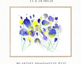 11 x 14 Original Aquarell-Malerei. Blumenkunst. Blau, lila und gelb Blume Art. Original-Gemälde. Abstrakte Blume Art. Blumen Aquarell