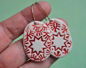 Porcelain Nine Pointed Star Earrings in Red and White