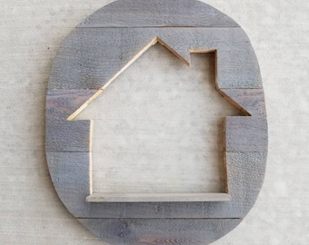 READY TO SHIP Grey Stained House Cutout