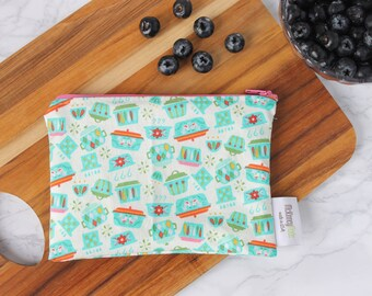Reusable Sandwich Bag ~ Reusable Snack Bag ~ Reusable Lunch Bag ~ Eco Friendly ~ Water Resistant ~ Zipper Pouch in Kitchen Dishes Teal