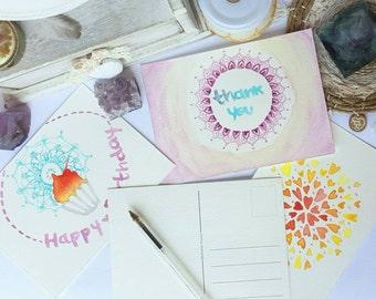 Handpainted watercolor postcards