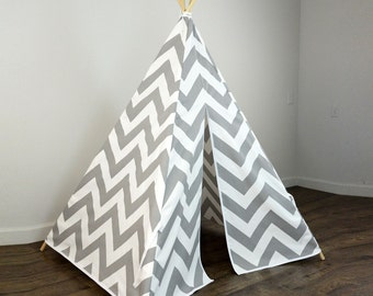 Kids Play Teepee Tent in Gray and White Large Chevron Zig Zag Cotton Canvas