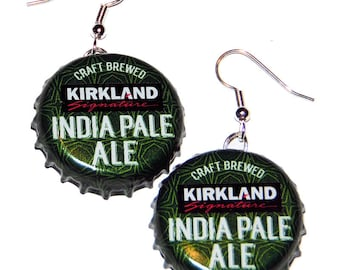 Kirkland Signature India Pale Ale Beer Bottle Cap Earrings Jewelry - From actual Bottle Caps