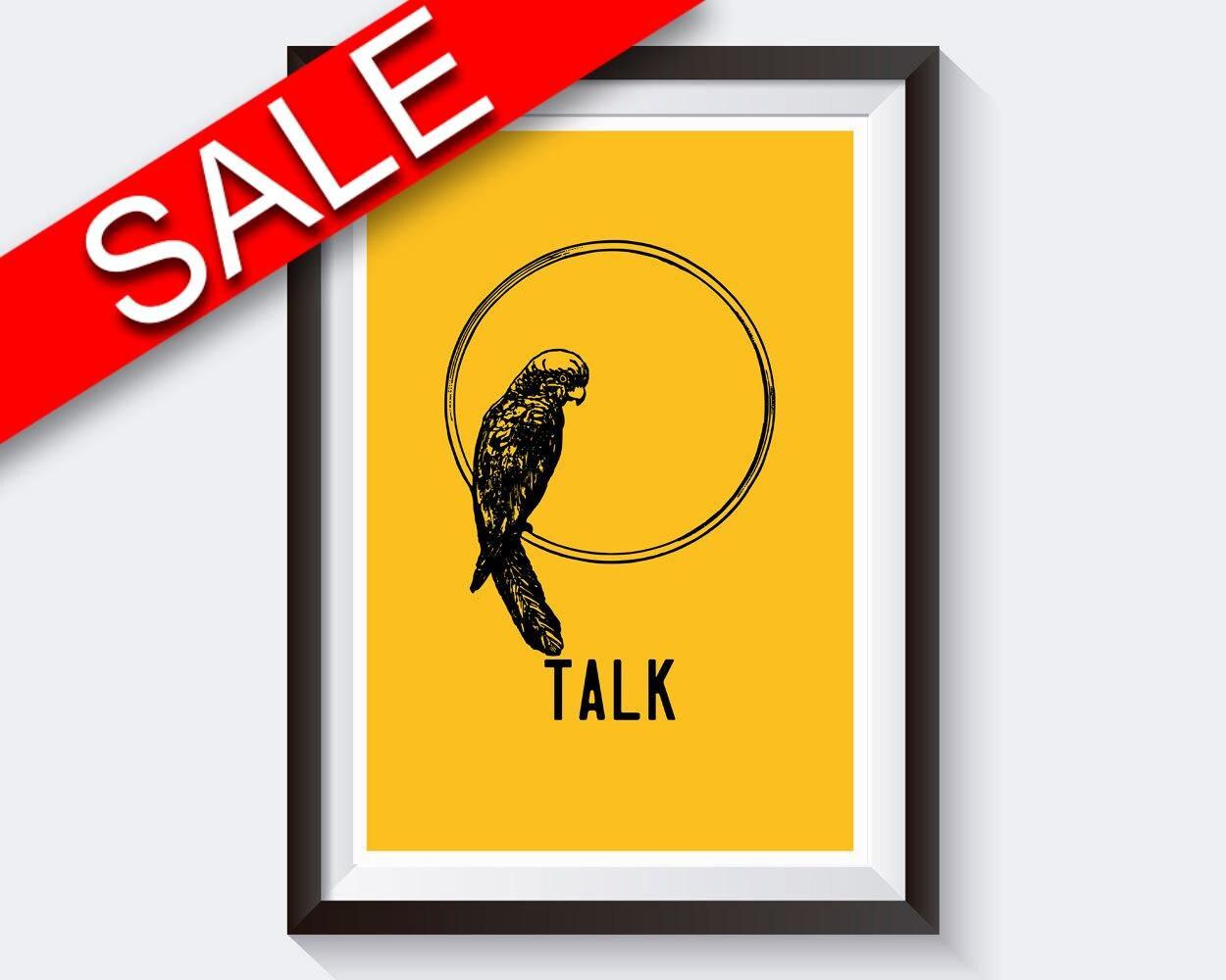 Wall Art Parrot Digital Print Talk Poster Art Parrot Wall Art