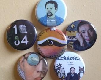"Haruki Murakami pin back buttons 1.25"" set of 6"