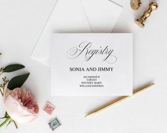 wedding registry inserts