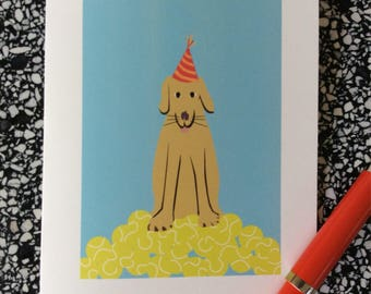 Dog birthday card - tennis balls