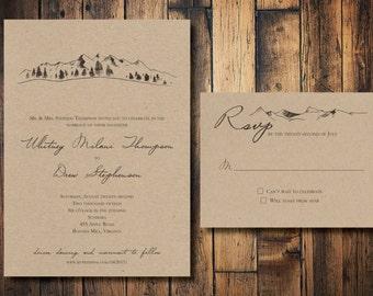 Rustic Mountain Outdoor Wedding Invitation