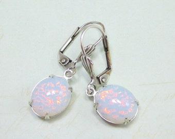White Fire Opal Earrings Dangles Vintage Glass White Opal Earrings  Mystical Fantasy Bridesmaids Gift