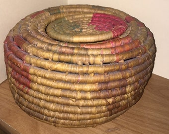 Antique Coil Basket with Lid - Buttons, Sewing