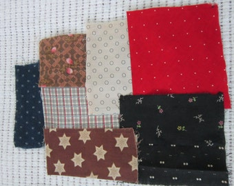 Fabric Pieces from 1880s Quilt Top