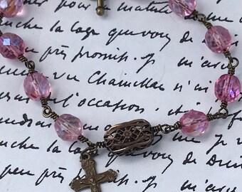 Rosary Crucifix Catholic Beaded Bracelet/Women's/Christ on the Cross/Catholic Jewelry