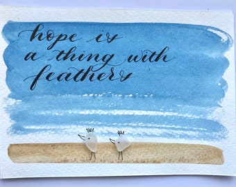 Handmade calligraphy and watercolor piece