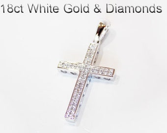 18ct 18K 750 White Gold and Natural Diamond Crucifix Cross Pendant - HJ25