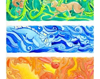 Eeveelution Triptychs Original Paintings