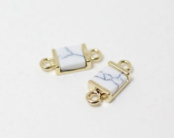 P0295/Anti-Tarnished Gold Plating Over Brass + Howlite Stone/Howlite Square Connector/12x 5mm/2pcs