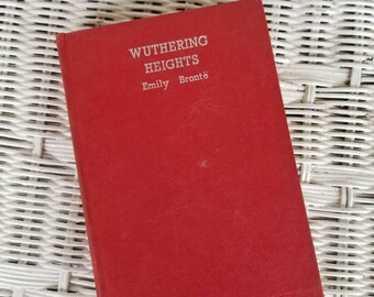 Wuthering Heights And Selected Poems by Emily Bronte, Vintage Red Hardcover Book, Love Story, Heathcliff, 19th Century English Romance