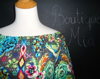 Boatneck DRESS or TOP - 3/4 length sleeves - Amy Butler - Hapi - Celestial in Dusk - Made in any Size - Boutique Mia by CXV