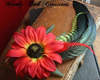 Black Eyed Susan Hair Clip Fascinator - ATS, Tribal Fusion, Belly Dance, Red, Fairy, Cosplay, Steampunk, Autumn, Fall, Lime Green
