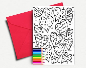 Valentine's Day Card, Coloring Cards, Love Card, Printable Valentine Card, Romantic Card, I Love You, Greeting Card, INSTANT DOWNLOAD