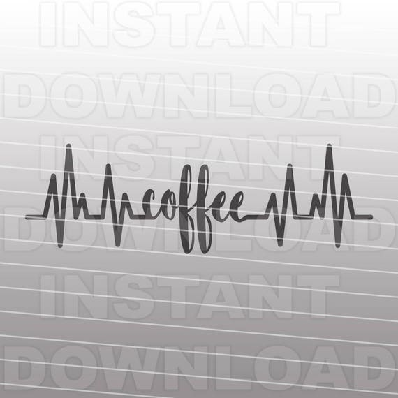 heartbeat ekg strip with coffee svg file commercial